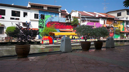 Melaka Canal and Colorful Houses, Malaysia Stock Video Footage
