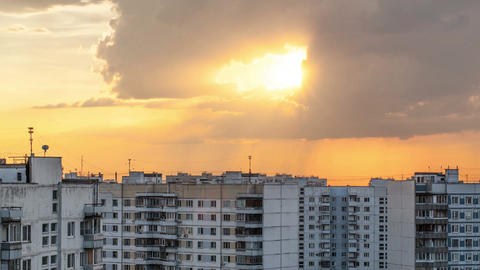 Timelapse of clouds over city during sunset Stock Video Footage