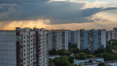 Timelapse of city with heavy clouds gathering in t Stock Video Footage