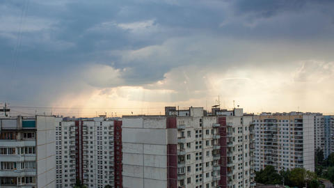 Timelapse of clouds gathering in sky over the city Stock Video Footage