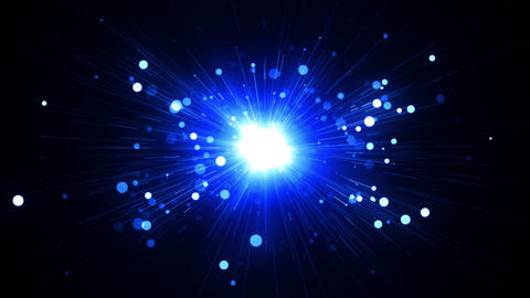 Blue Light rays with particles Emitting From Cente CG動画素材