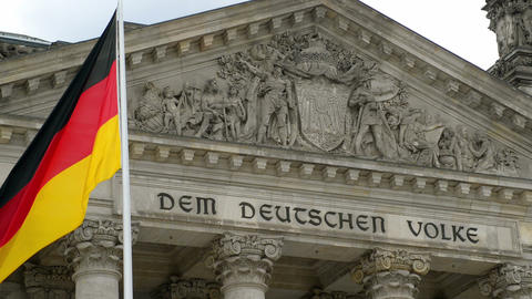 German Flag In Front Of The Bundestag 11428 stock footage