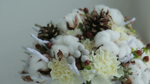 Winter Bridal Bouquet stock footage