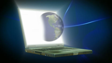Stock Animation of a Lap Top with the Globe ライブ動画