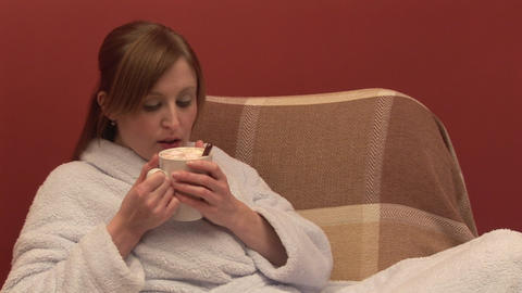 Stock Footage of a Woman Drinking Coffee Stock Video Footage