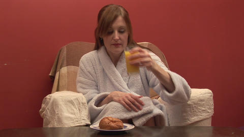 Stock Footage of a Woman Eating Breakfast Stock Video Footage
