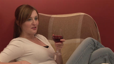 Stock Footage Relaxing with a Glass of Wine Footage
