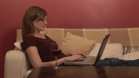 Stock Footage of a Woman Relaxing with Computer Stock Video Footage