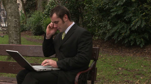 Stock Footage of Businessman Working Outdoors Stock Video Footage