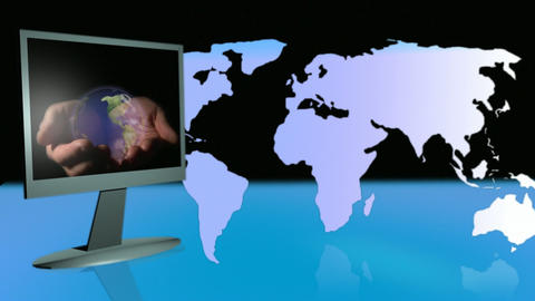 Computer Monitor and Globe 2 Footage