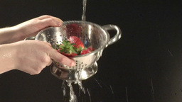 Stock Footage of Washing Strawberries Stock Video Footage