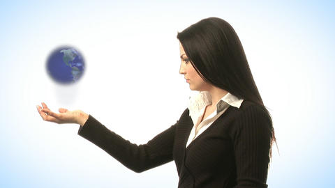 Woman Holding a Globe Footage
