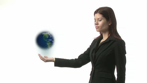 Woman Holding Globe and Smiling Stock Video Footage