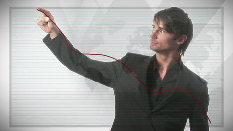 Businessman Drawing a Graph Footage