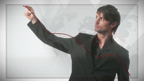 Businessman Drawing a Graph Stock Video Footage