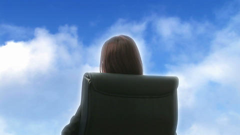 Woman Looking at Clouds Stock Video Footage