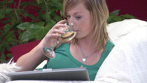 Woman Unwinding on Sofa Footage