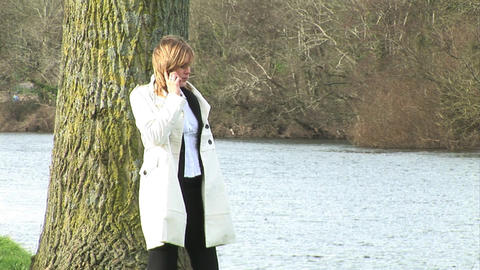 Businesswoman talking on mobile phone Footage