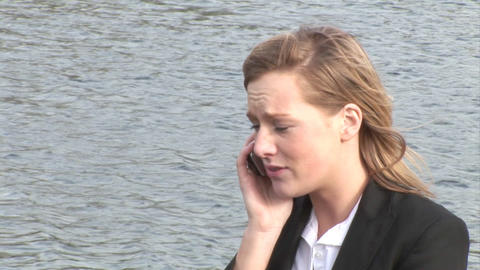 Businesswoman talking on mobile phone Stock Video Footage