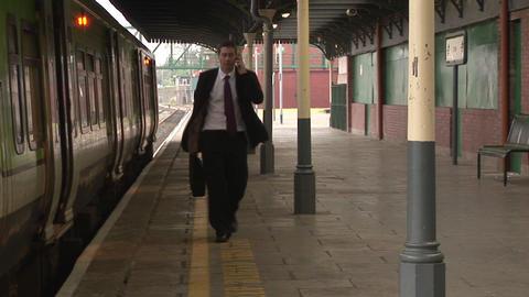 Business man at Train station Stock Video Footage