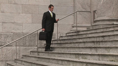 Man on Steps of Building Stock Video Footage