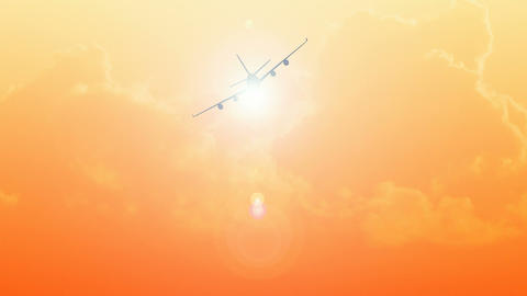 CGI Of An Airplane Flying In The Sky At Sunset2 stock footage
