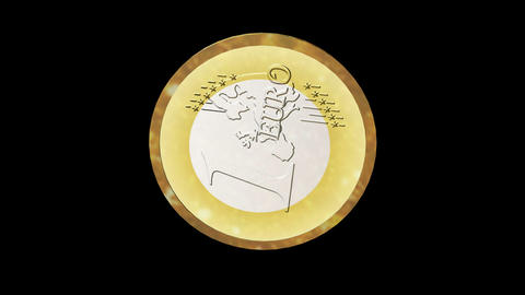 Seamless 3d Animation of a Euro Coin Stock Video Footage