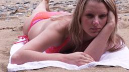 Woman Sunbathing Stock Video Footage