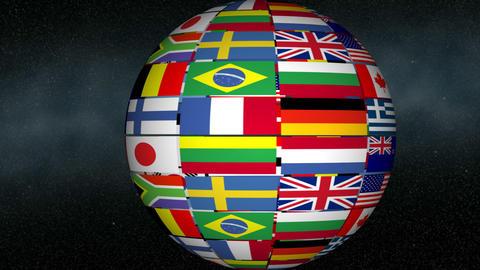 Spinning Flag Globe Footage