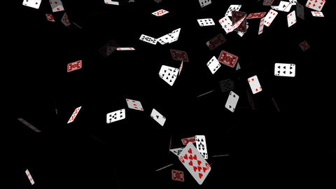 Poker Cards Falling Stock Video Footage