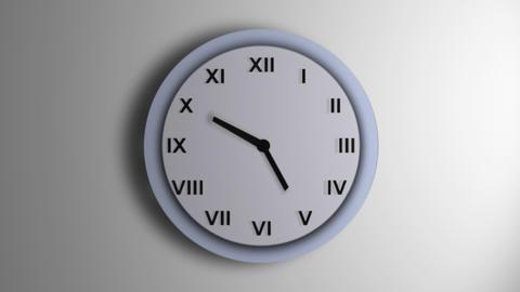Blue Clock Roman Time Lapse Animation