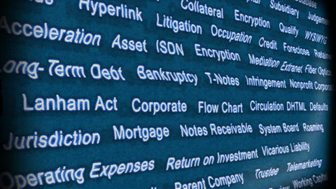 Business Terms on Television Stock Video Footage