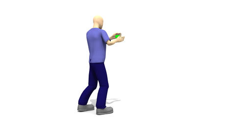Character man pointing at a green screen Animation