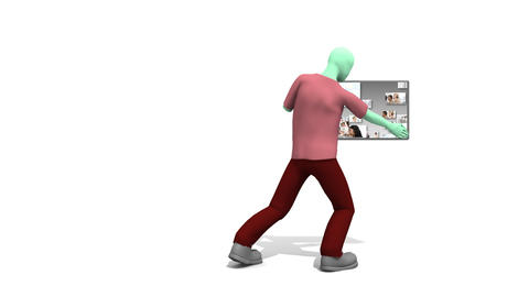Character man showing business people collage Animation