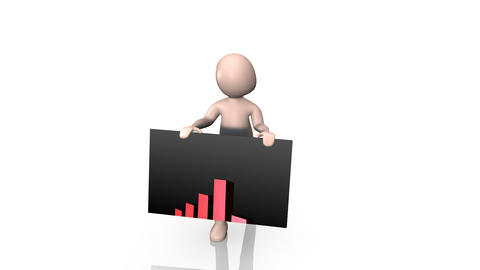 3d Man holding up a graph Stock Video Footage