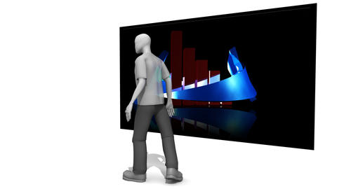 3D Man presenting a graph Stock Video Footage