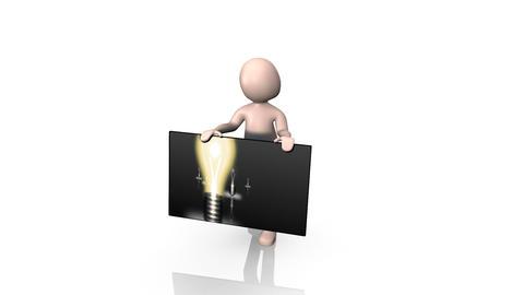3d Man Presenting Light Bulbs Stock Video Footage