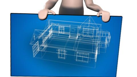 3d Blueprints of a house Footage