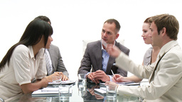 Multiethnic business people in a meeting Stock Video Footage