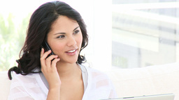 Positive business woman on phone Footage
