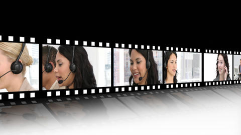 Video panels showing a business call centre Stock Video Footage