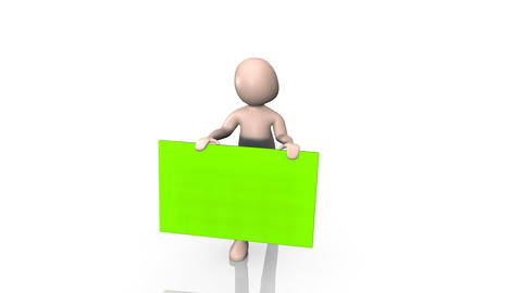 3D man holding a green screen Animation