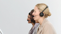 Business team working in a call centre Stock Video Footage