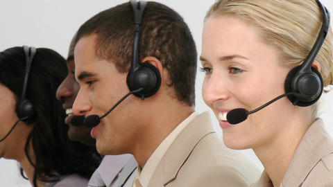 Multietnic business team working in a call centre Footage