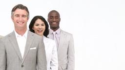 Multiethnic business team standing Stock Video Footage