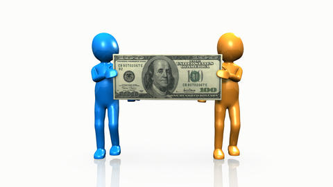 Two 3D men carrying a dollar Animation