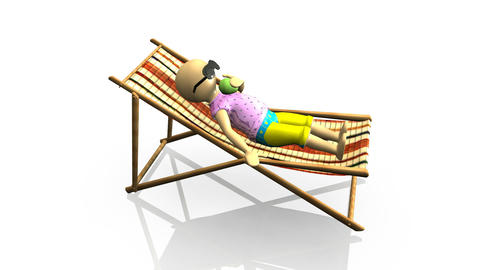 3D man relaxing on a reclining chair Stock Video Footage