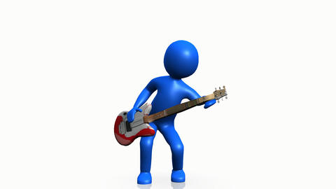 3d man playing guitar Stock Video Footage