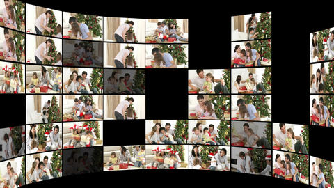Montage of family at Christmas time Stock Video Footage