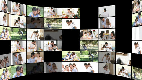 Jolly families having fun together Stock Video Footage